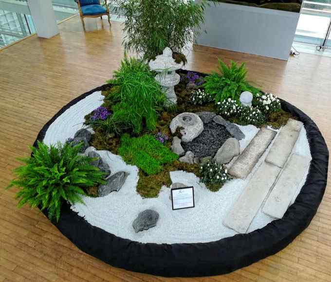 Patio Jardin intérieur Jardin de thé cha niwa lantrene oribe bassin