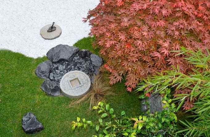 Tsukubai bassin japonais en granit fontain en bambou jardin japonais